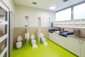 Children-size toilets with partitions